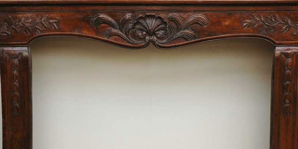 Antique Louis XV period Walnut and Beechwood mantel