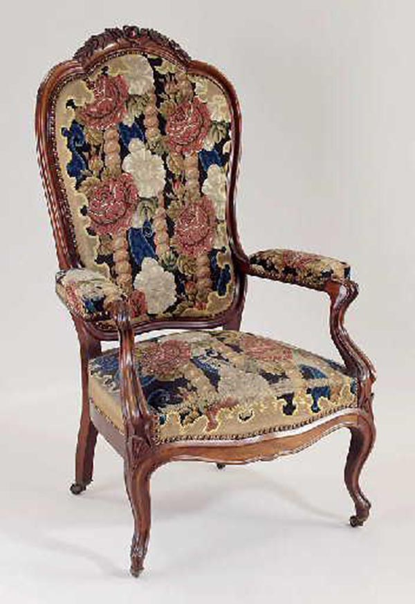 Voltaire Armchair With Wheels Covered Pe Point Tapestry Backrest Surmounted By Carved Flowers Rosewood Metal Musée National Magnin Dijon