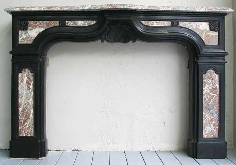 18th century fireplace mantel in two colors of marble-0