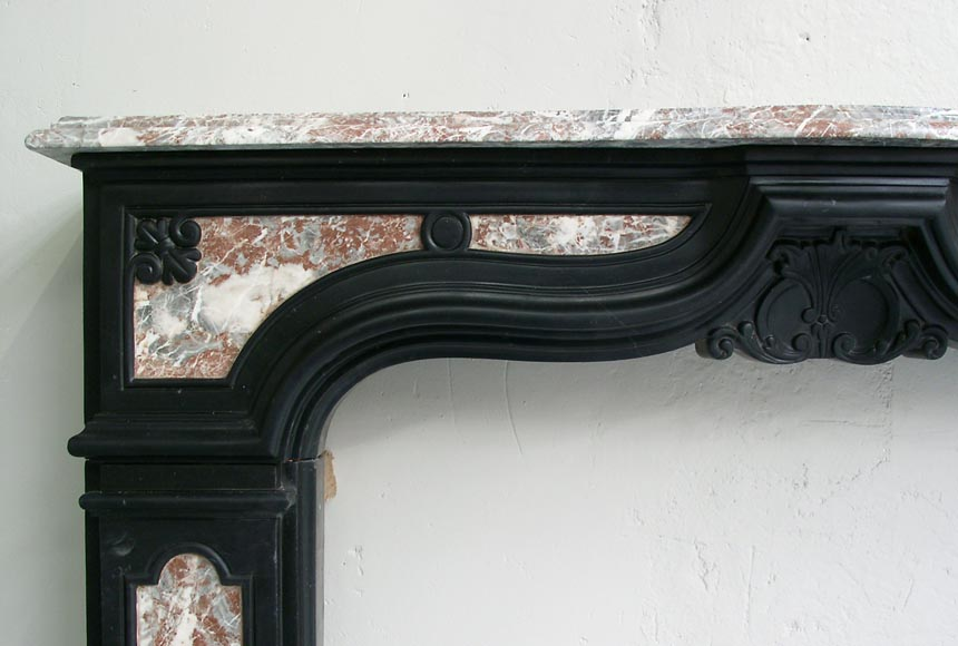 18th century fireplace mantel in two colors of marble-1