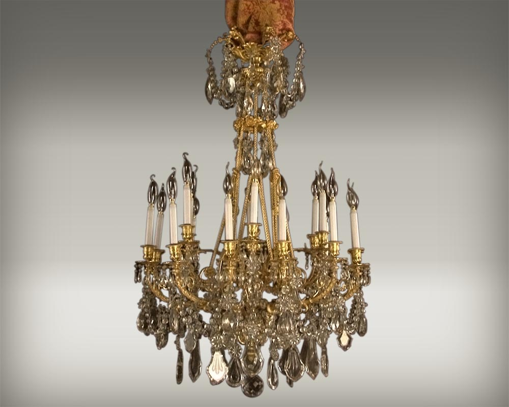 Large bronze and cristal chandelier with tassels-0