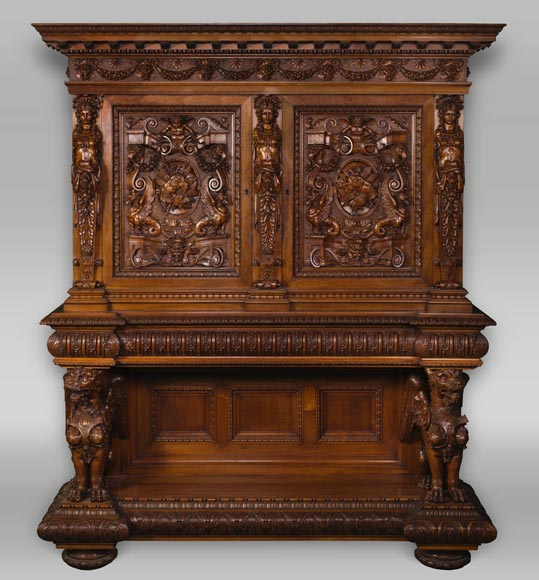 A sumptuous sculpted credenza coming from an exceptional furniture set realized by Moses Michelangelo Guggenheim for the Palazzo Papadopoli in Venice, Italy-0