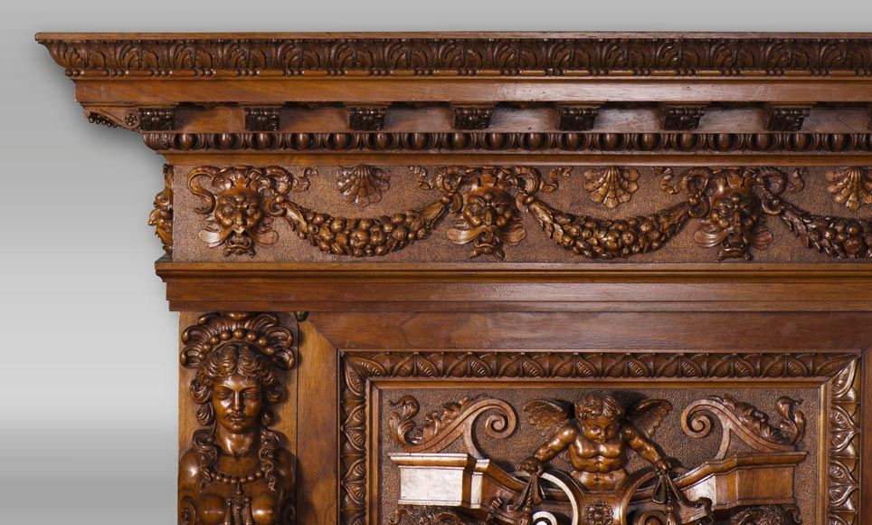A sumptuous sculpted credenza coming from an exceptional furniture set realized by Moses Michelangelo Guggenheim for the Palazzo Papadopoli in Venice, Italy-12