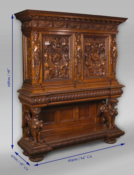 A sumptuous sculpted credenza coming from an exceptional furniture set realized by Moses Michelangelo Guggenheim for the Palazzo Papadopoli in Venice, Italy-18