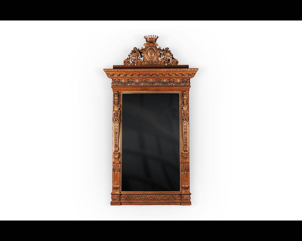 The monumental mirror coming from an exceptional furniture set realized by Moses Michelangelo Guggenheim for the Palazzo Papadopoli in Venice, Italy - Reference 03170
