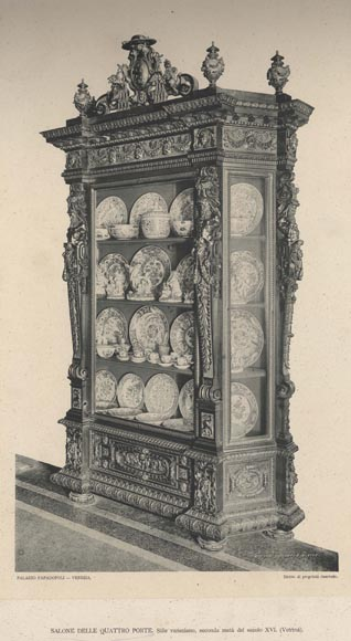 A monumental Display Cabinet coming from an exceptional furniture set realized by Moses Michelangelo Guggenheim for the Palazzo Papadopoli in Venice, Italy-11