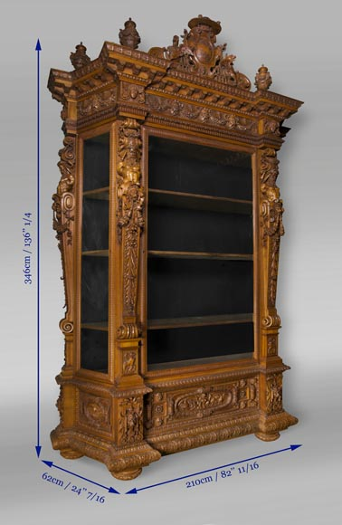 A monumental Display Cabinet coming from an exceptional furniture set realized by Moses Michelangelo Guggenheim for the Palazzo Papadopoli in Venice, Italy-13