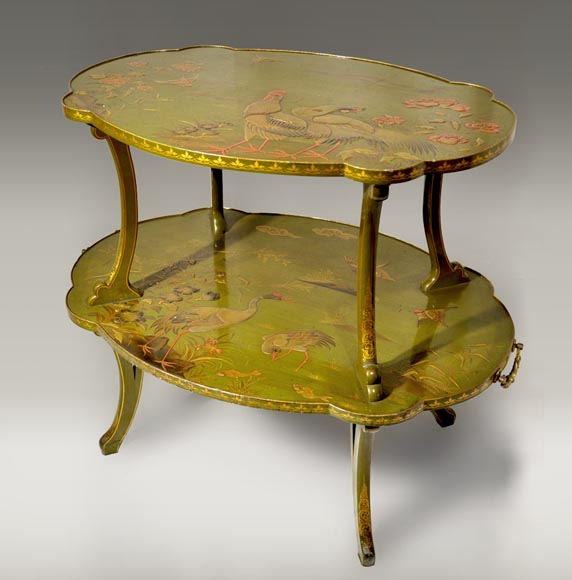 ESCALIER DE CRISTAL, Tea table decorated with Japanese-lacquer-0