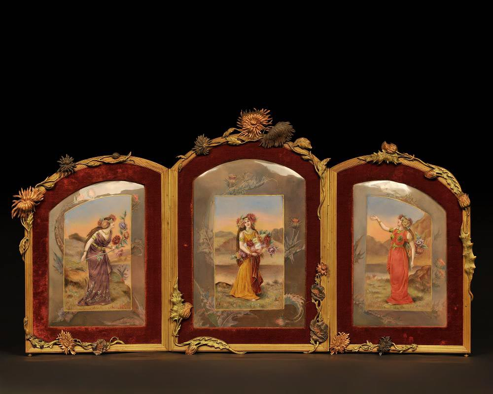 DORVAL, enameller- enamelled triptych with women with chrysanthemum flowers.-0