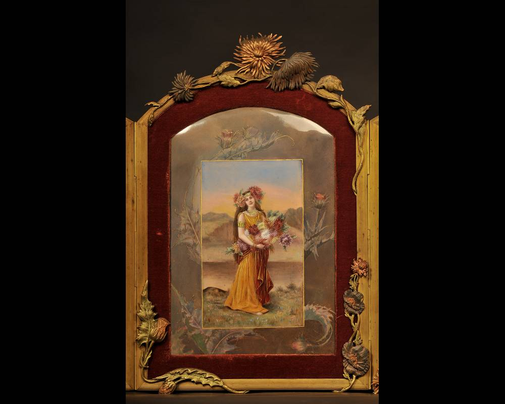 DORVAL, enameller- enamelled triptych with women with chrysanthemum flowers.-1