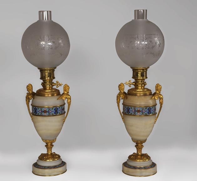 Beautiful antique paire of Onyx lamps with cloisonné enamels and gilded bronze with Sphinx decor-0