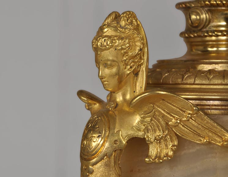Beautiful antique paire of Onyx lamps with cloisonné enamels and gilded bronze with Sphinx decor-1