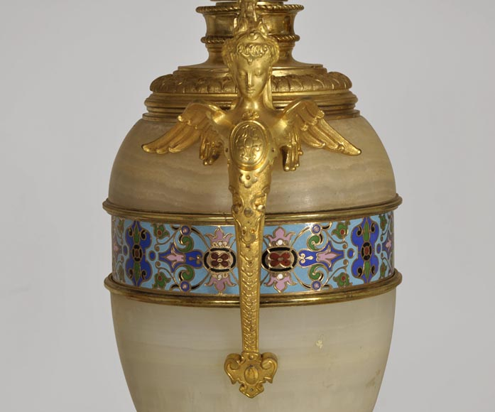 Beautiful antique paire of Onyx lamps with cloisonné enamels and gilded bronze with Sphinx decor-3