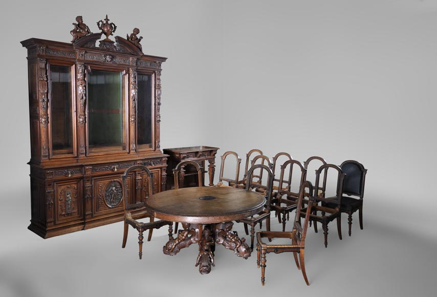Beautiful antique carved walnut wood dining room set by the french cabinetmaker Paul Mazaroz-0