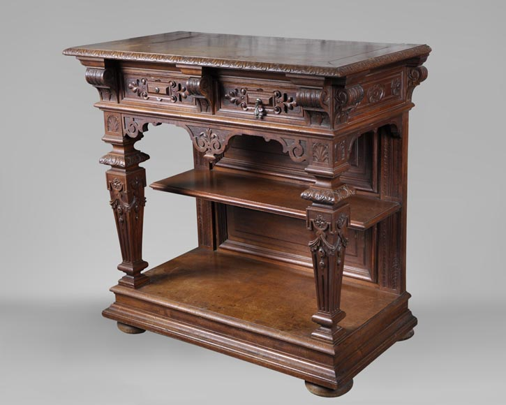 Beautiful antique carved walnut wood dining room set by the french cabinetmaker Paul Mazaroz-14
