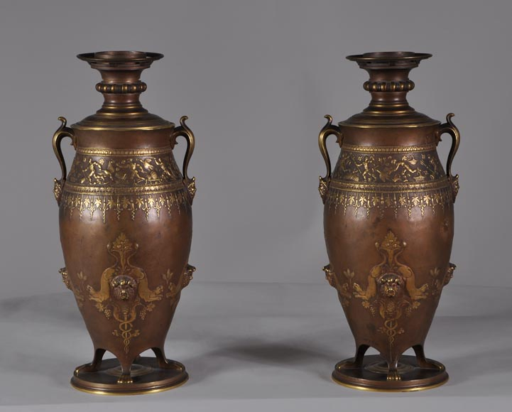 Ferdinand LEVILLAIN (1837 - 1905) Pair of Napoleon III lamps, in gilded an brown patinated bronze-0