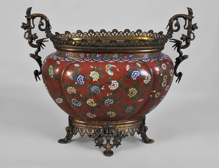 Ormolu mounted and red cloisonne enamel cache-pot-0