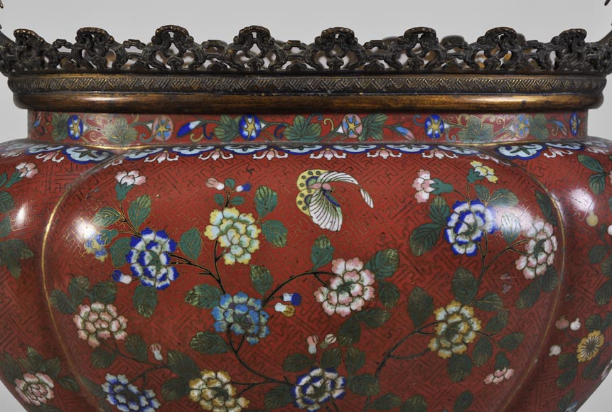 Ormolu mounted and red cloisonne enamel cache-pot-1