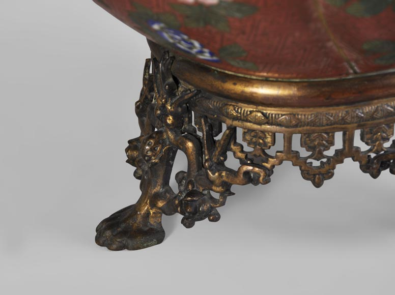 Ormolu mounted and red cloisonne enamel cache-pot-5