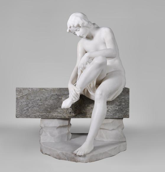 Riccardo AURILI - Flower basin with a nude drying her foot, Statuary marble statue-0