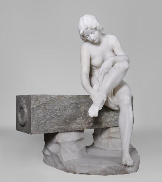 Riccardo AURILI - Flower basin with a nude drying her foot, Statuary marble statue-1
