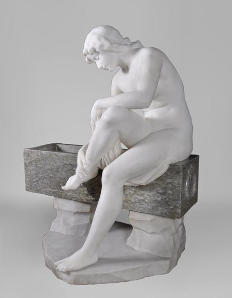 Riccardo AURILI - Flower basin with a nude drying her foot, Statuary marble statue-2