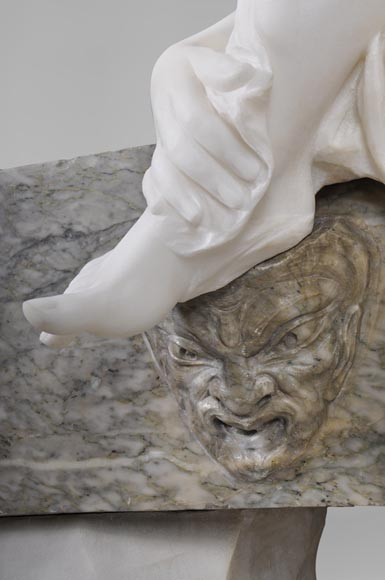 Riccardo AURILI - Flower basin with a nude drying her foot, Statuary marble statue-6