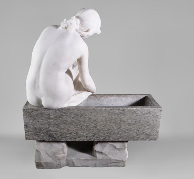 Riccardo AURILI - Flower basin with a nude drying her foot, Statuary marble statue-7