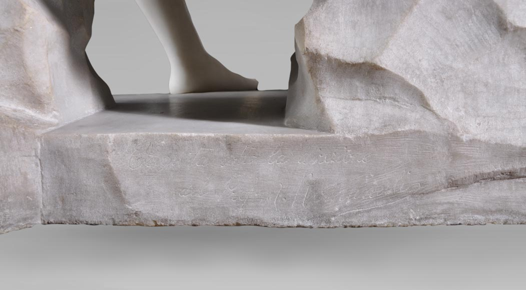Riccardo AURILI - Flower basin with a nude drying her foot, Statuary marble statue-8