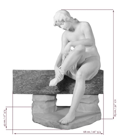 Riccardo AURILI - Flower basin with a nude drying her foot, Statuary marble statue-10