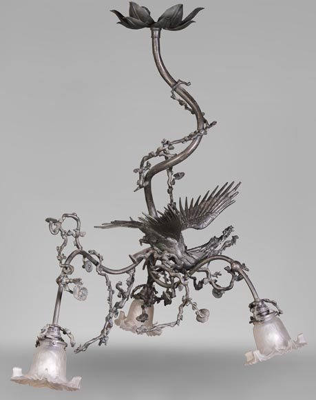 Brown patina bronze chandelier with flying dragon and cherry blossom branches decor-0