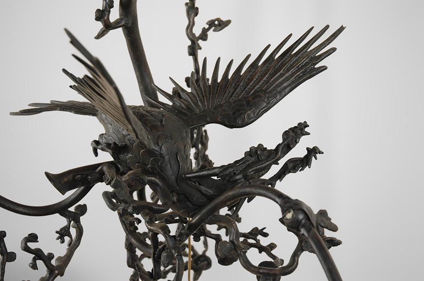 Brown patina bronze chandelier with flying dragon and cherry blossom branches decor-1