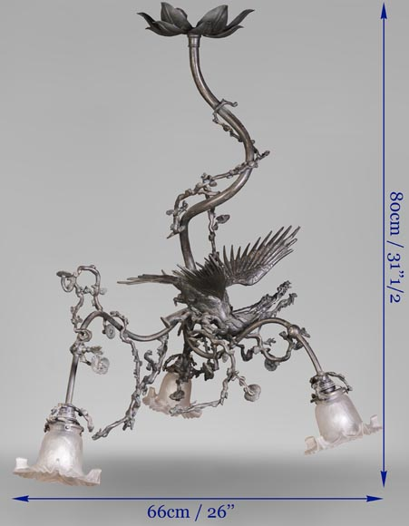 Brown patina bronze chandelier with flying dragon and cherry blossom branches decor-7
