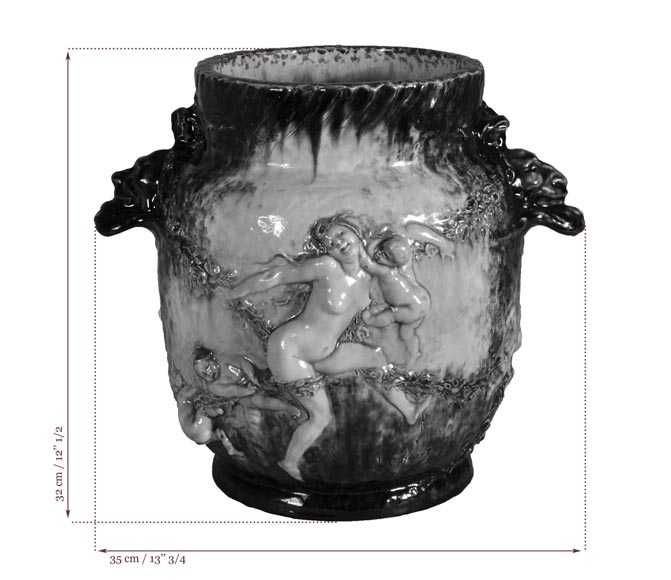 Théodore DECK (1823-1891) and Joseph Gustave CHERET (1838-1894) - Large vase with decoration of nymphs and cherubs-9