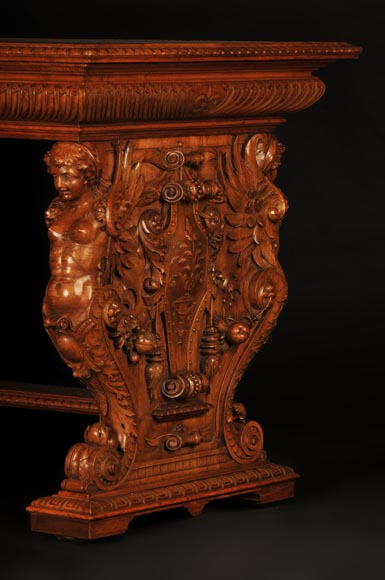 Henri-Auguste FOURDINOIS (1830-1907) - Neo-Renaissance style table decorated with chimeras-1