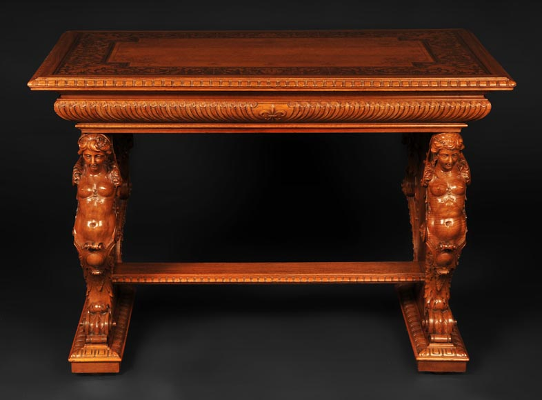 Henri-Auguste FOURDINOIS (1830-1907) - Neo-Renaissance style table decorated with chimeras-3