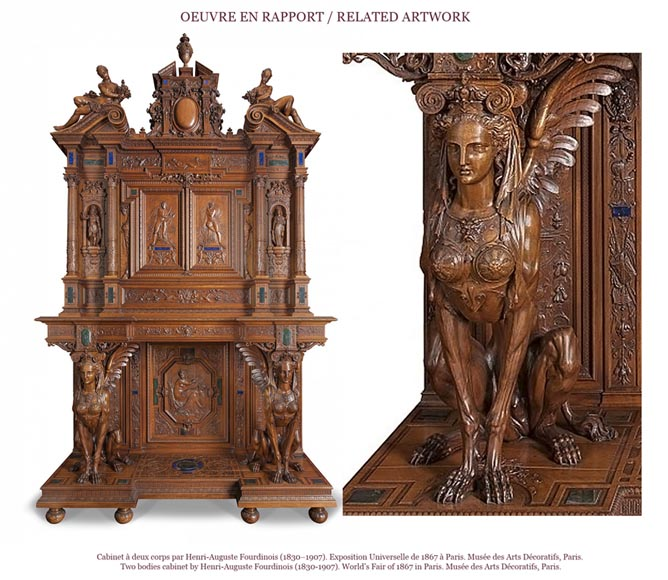 Henri-Auguste FOURDINOIS (1830-1907) - Neo-Renaissance style table decorated with chimeras-6