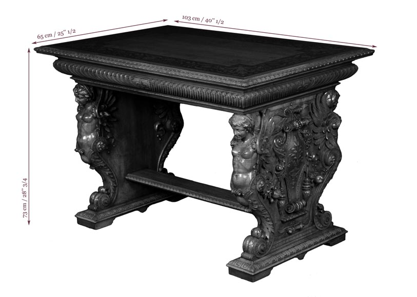 Henri-Auguste FOURDINOIS (1830-1907) - Neo-Renaissance style table decorated with chimeras-7