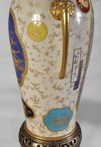 Louis Pierre MALPASS - Pair of french porcelain vases in the Japanese style-6