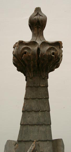 Two wooden roof finials -1