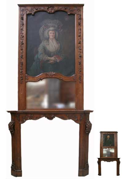 Oak mantle and trumeau with portrait of lady-0