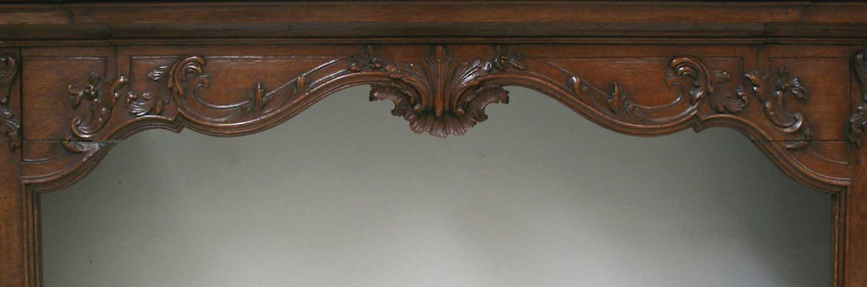 Oak mantle and trumeau with portrait of lady-1