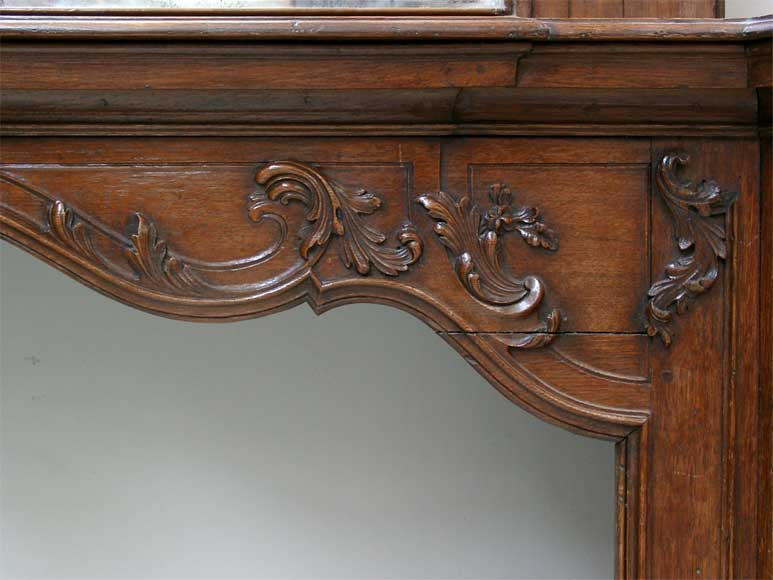 Oak mantle and trumeau with portrait of lady-2