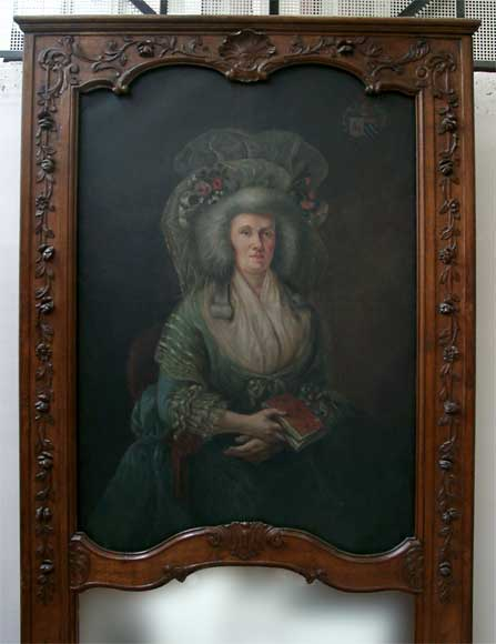Oak mantle and trumeau with portrait of lady-8
