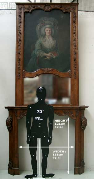 Oak mantle and trumeau with portrait of lady-15