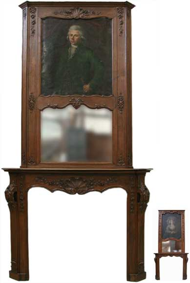 Oak fireplace with portrait of a gentleman-0