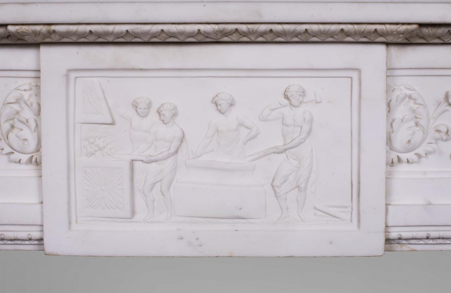 Carrara marble mantel with Vulcan's forge cartouche-1