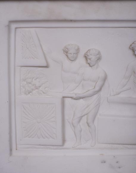 Carrara marble mantel with Vulcan's forge cartouche-2