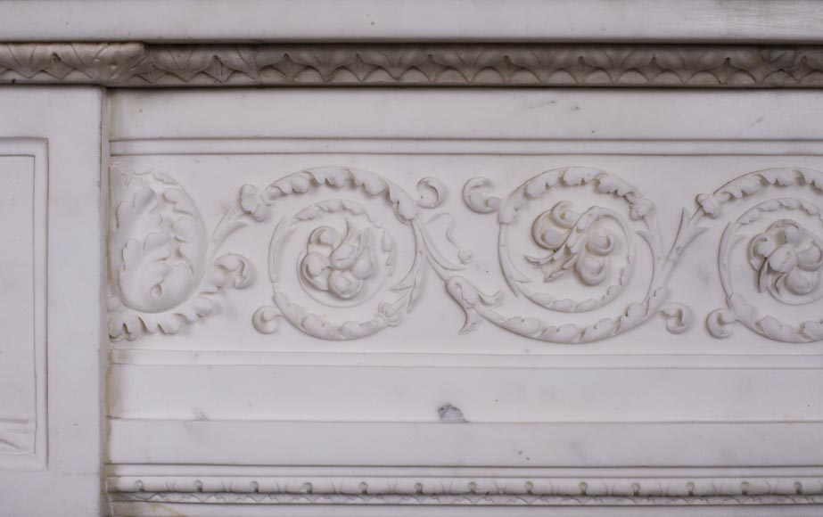 Carrara marble mantel with Vulcan's forge cartouche-4