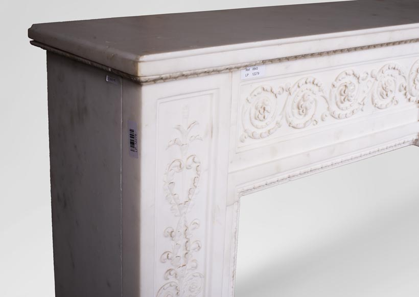 Carrara marble mantel with Vulcan's forge cartouche-6